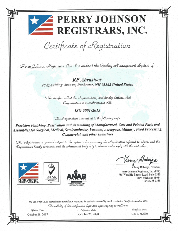 Perry Johnson Certificate for ISO 9001:2015 Conformance
